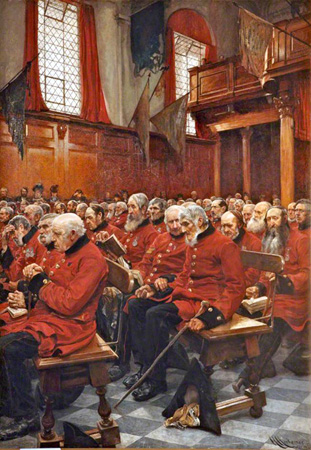 Picture of 'The Last Muster, Sunday at the Royal Hospital, Chelsea' by Hubert von Herkomer.