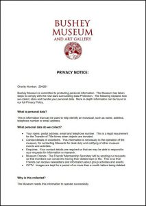 An image of, and a link to, the Bushey Museum's Privacy Notice.