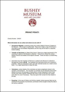 An image of, and a link to, the Bushey Museum's Privacy Policy.