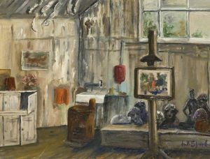 A picture called 'Interior of the Frobisher Studio, Bushey' by Margaret B. Spark.