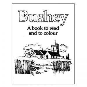 A book titled Bushey: A book to read and colour.
