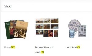 Categories of products in the on-line shop, with books, cards and household.