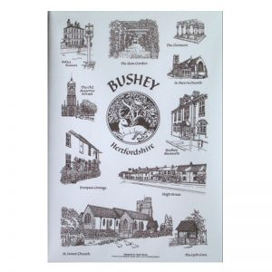 A pack of notelets with pictures of Bushey by Hazel Beney.