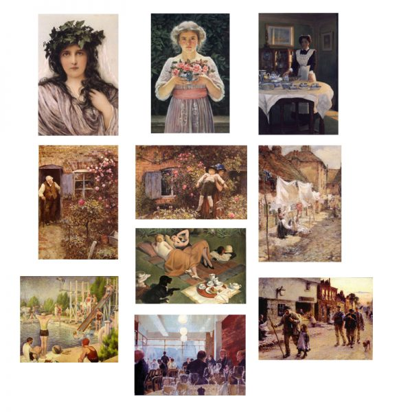 A selection of 10 cards with paintings by Hubert von Herkomer and others.