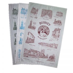 A set of three tea towels featuring Hazel Beney designs of Bushey.