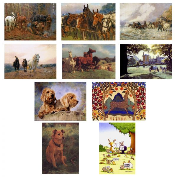 A selection of 10 cards with painting and pictures of animals.