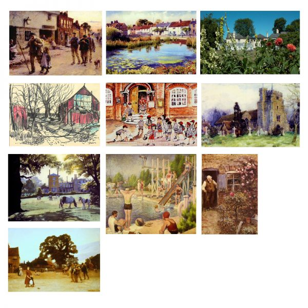 A selection of 10 cards with paintings of Bushey.