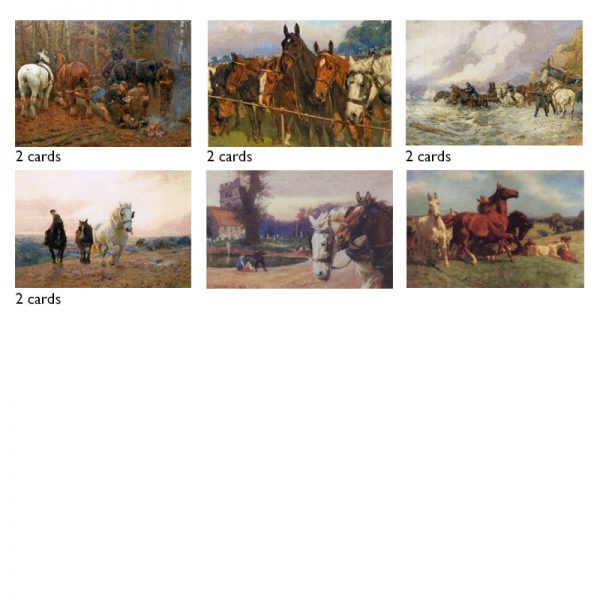 A selection of 10 cards showing paintings of horses by Lucy Kemp-welch.