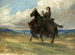A sketch for the painting 'Riders' by Lucy Kemp-Welch.