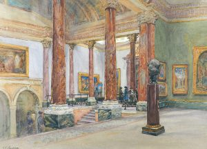 A painting 'The Interior of the National Gallery' by Kate Cowderoy.