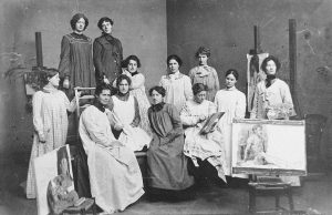 A picture from the Lomas bequest of female student artists at the Herkomer School of Art.