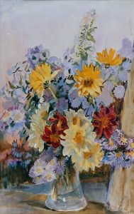 'Mixed Flowers in a Glass Vase' by Kate Ethyl Cowderoy