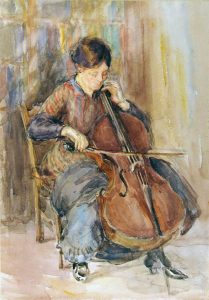 'Aunt Playing the Cello' by Kate Ethyl Cowderoy