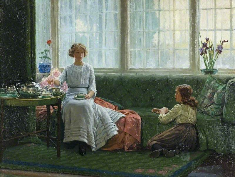 'Two Girls in a Window Seat' by Albert Ranney Chewett.