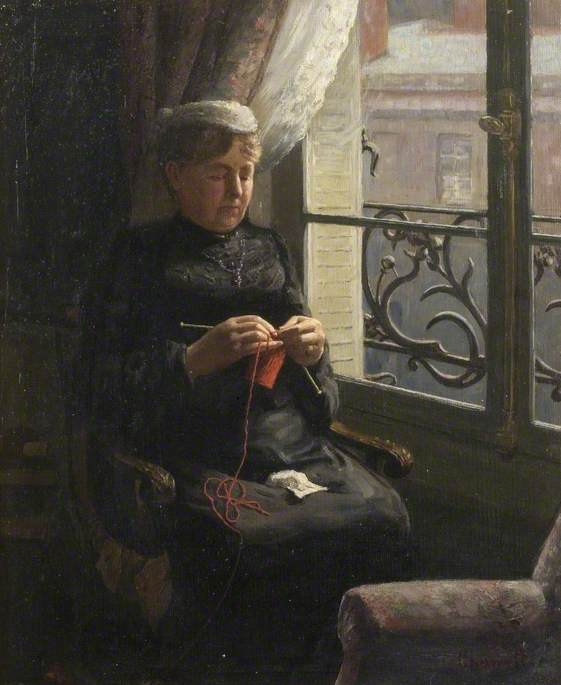 Artist's Mother Knitting in a Flat in Paris by Albert Ranney Chewett