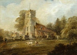 Picture 'Parish Church of St James, Bushey' by James Charles Oldmeadow