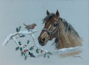 'A Pony looking at a Robin on Holly' by Mabel Gear