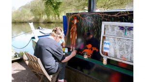 Canal Boat Artist by Lynda Bullock