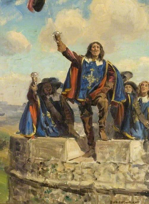 'Athos placed his hat on the point of his sword and waved' by Rowland Wheelwright