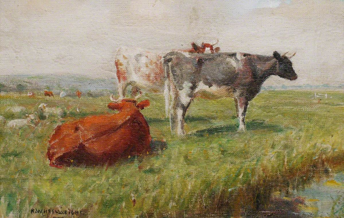 Cows and Sheep in a Water Meadow by Rowland Wheelwright