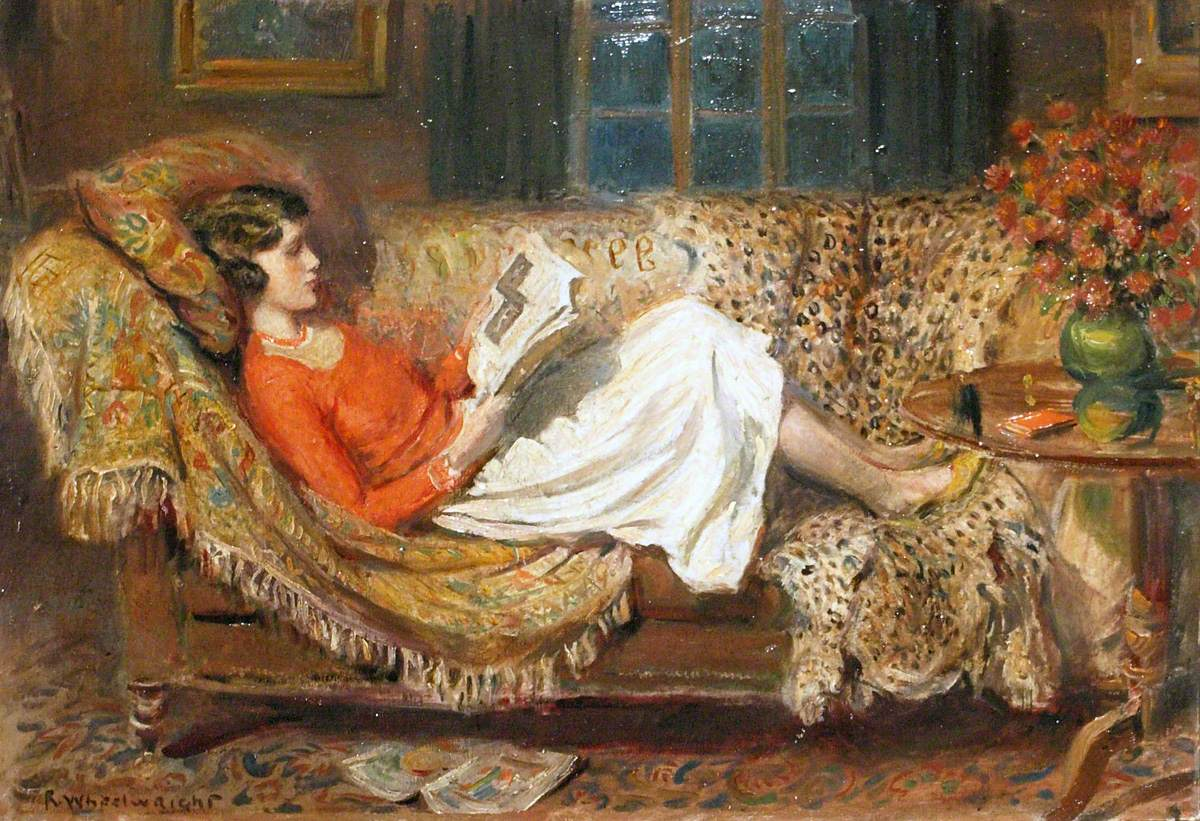 Irene Reading on a Chesterfield by Rowland Wheelwright