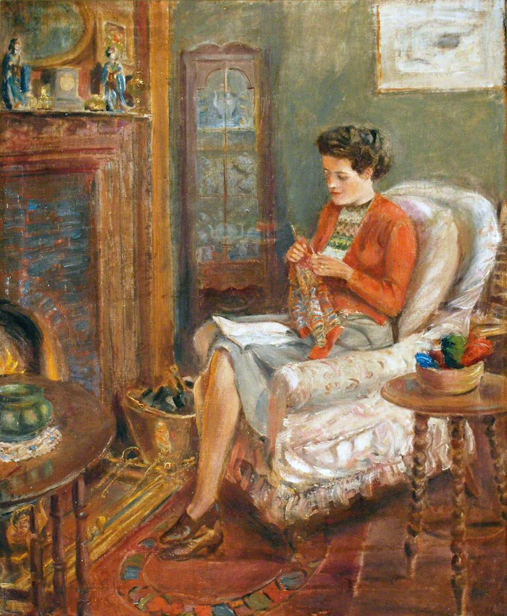 Irene Knitting in an Easy Chair by Rowland Wheelwright