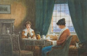 Domestic scene by William A Sims