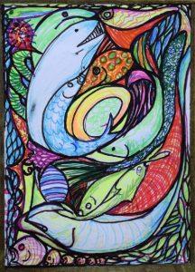 Fish stained glass window by Jenny Birchy