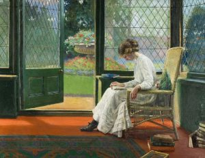 Girl at Drawing Room French Window by Albert Chewett