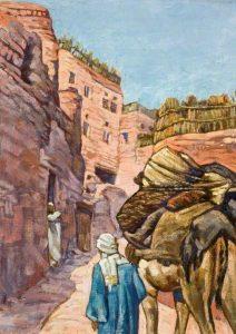 Arab Leading a Camel up a Steep Village Street