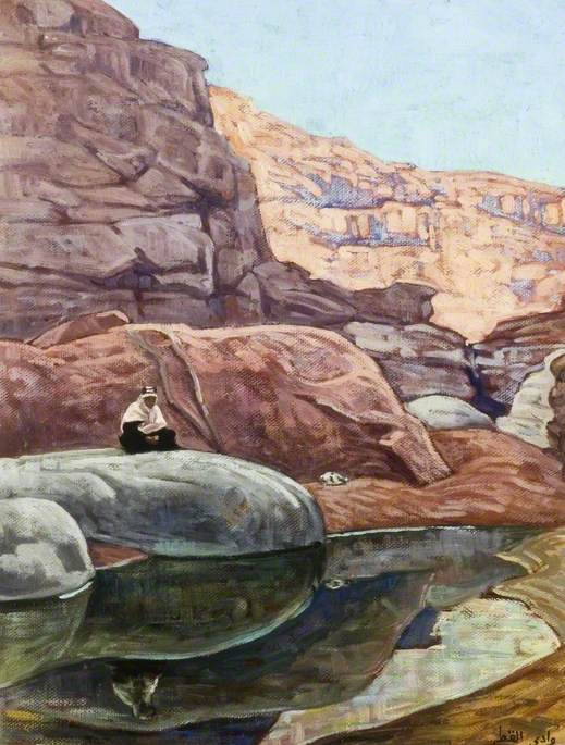 Arab Sitting on a Rock over a Pool in a Mountain Valley