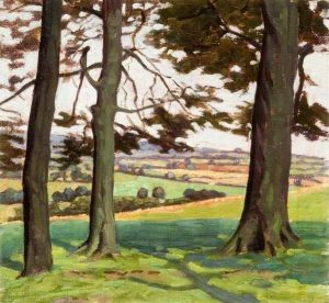 Landscape with Three Tree Trunks by Myrtle Broome