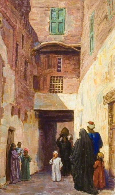 People in an Egyptian Village Alley