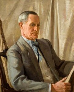 Portrait of a Man Studying a Painting by Algernon Talmage