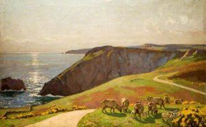 Sheep on Cliffs by Algernon Talmage