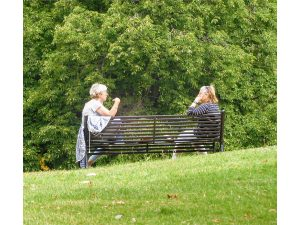 A lockdown chat in Oxhey Park by Nick Edgeworth